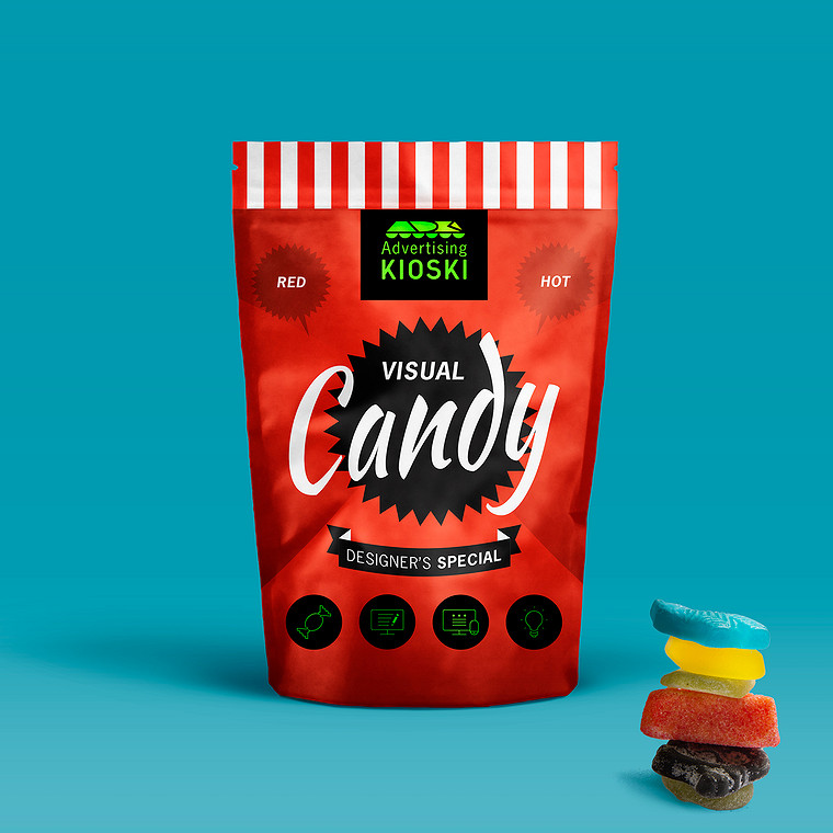 Visual Candy -karkkipussi ja pino karkkia