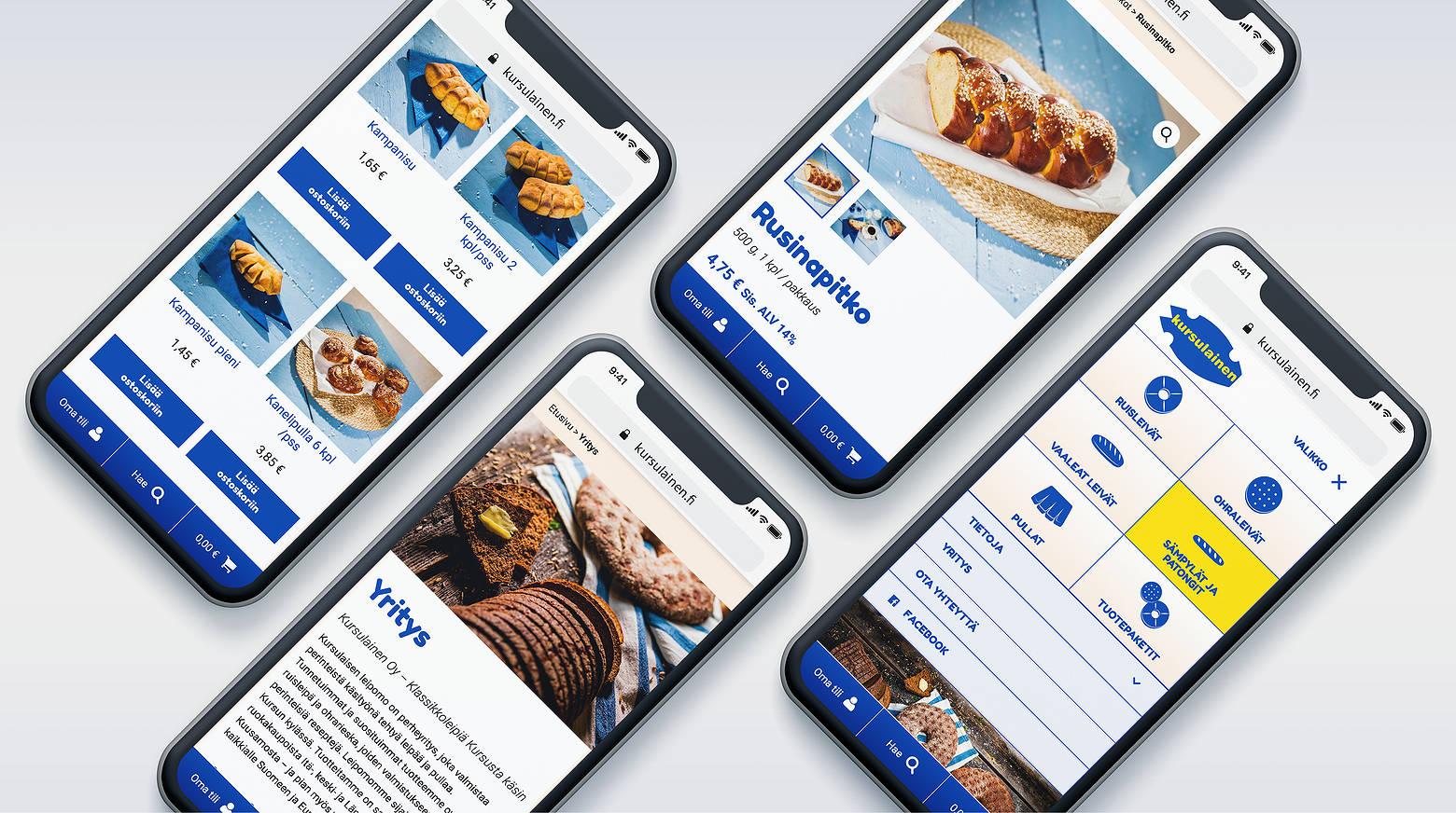 Verkkokaupan mobiilinäkymiä