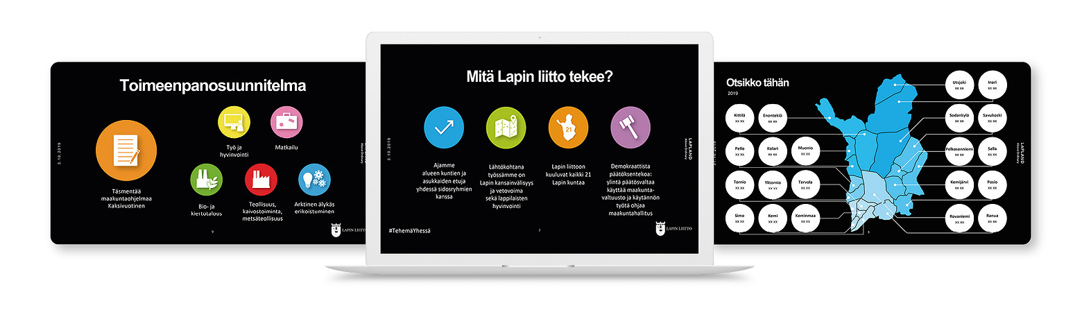 Powerpoint-pohjat ovat osa julkisorganisaation viestintämateriaaleja.