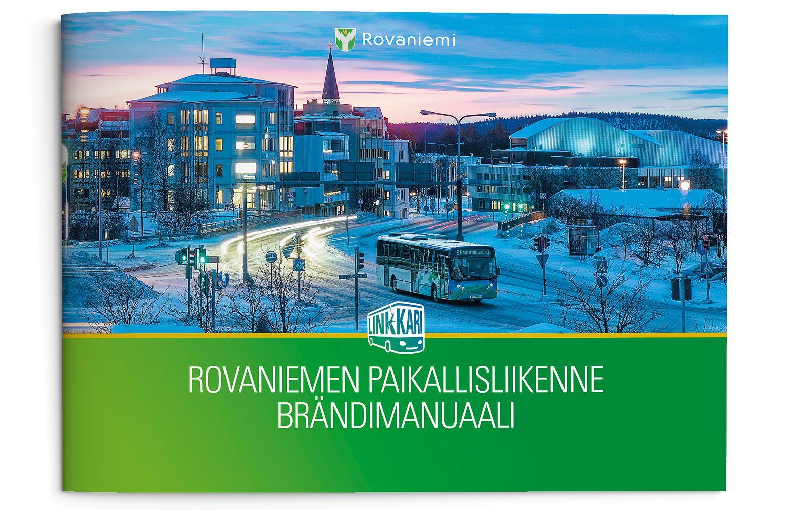 Brändimanuaalissa esitellään Rovaniemen kaupungin Linkkarin visuaalinen ilme.