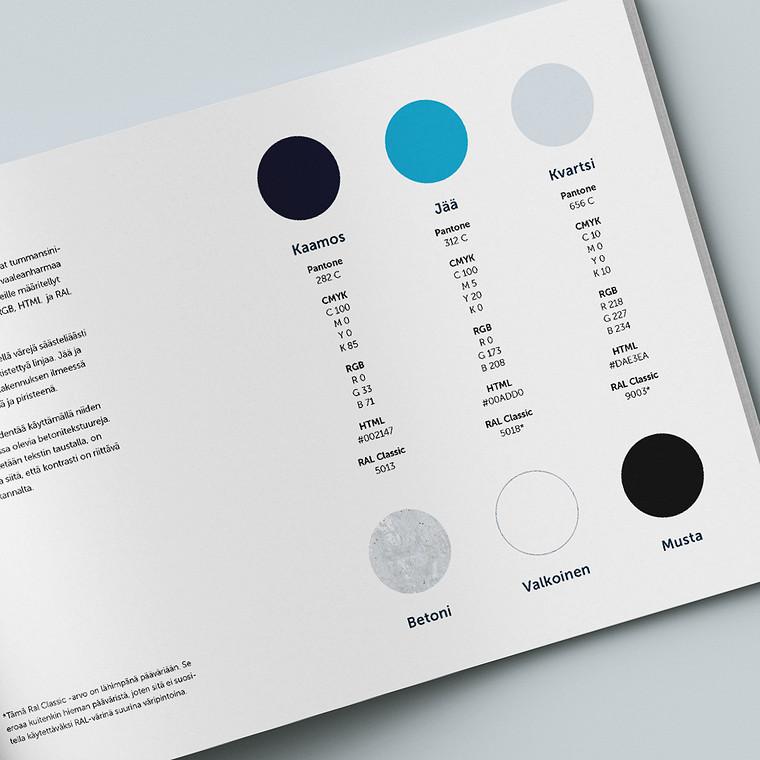 Graafisessa ohjeistossa esitellään uudet brändin mukaiset värit.