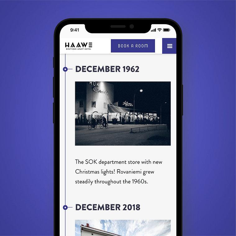 Haawe verkkosivut historia-aikajana puhelimessa