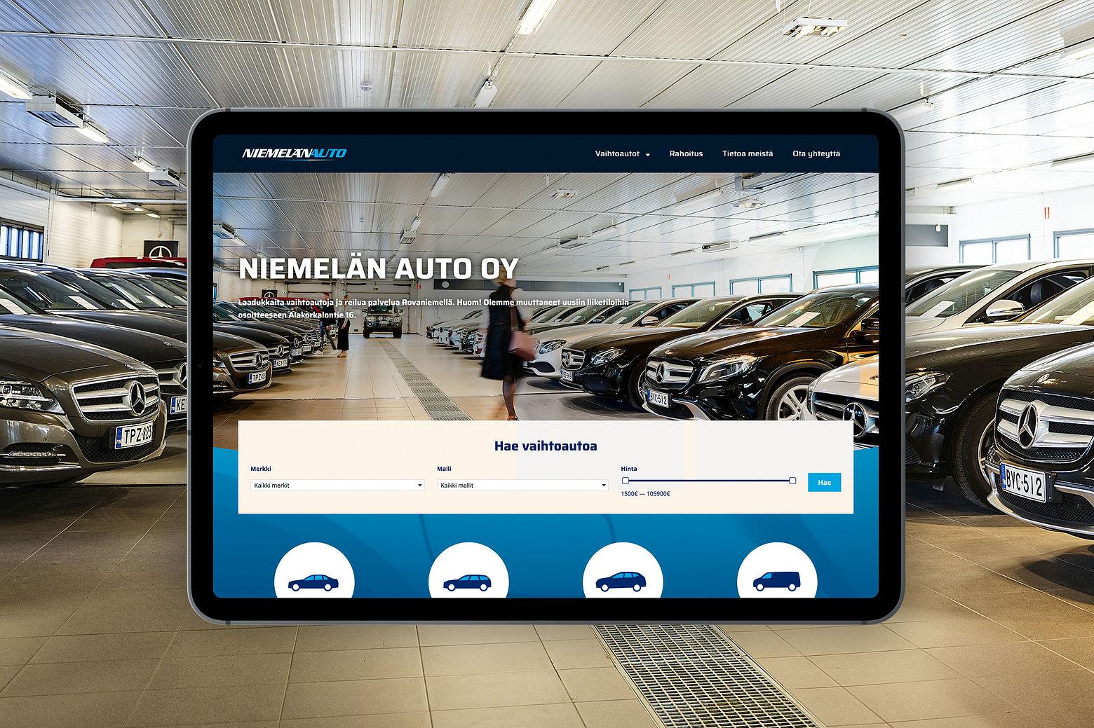 Niemelän auton nettisivuston etusivu tuotehakuineen