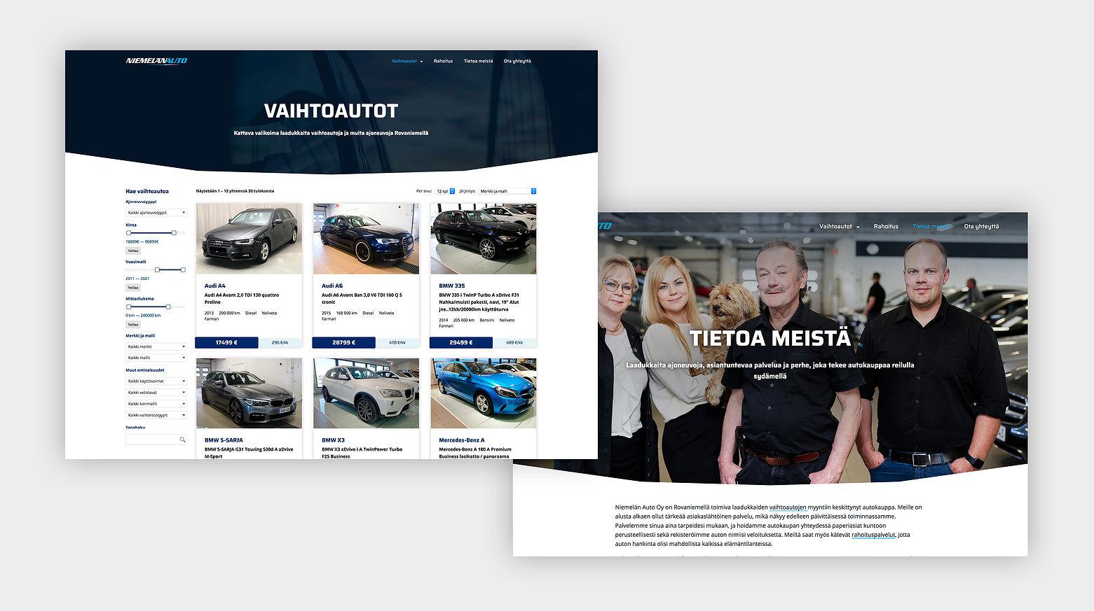 Nettisivuston Vaihtoautot- ja Tietoa meistä -sivut